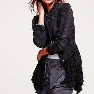 Free people military ruffles jacket blazer